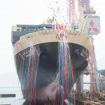 貨物船の命名・進水式