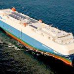 自動車運搬船「EMERALD ACE」 全長:199.9m / 幅:32.3m / 高さ:45.6m