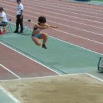 陸上競技選手権大会女子三段跳で喜田選手(ミライト・テクノロジーズ)3位